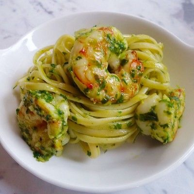 Pesto Pasta with Shrimp and Scallops