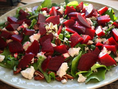 Roasted Beet Salad with Fresh Goat Cheese and Toasted Pecans