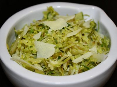 Shaved Brussels Sprouts with Melgarejo Arbequina, Lemon Olive Oil and Parmesan Cheese
